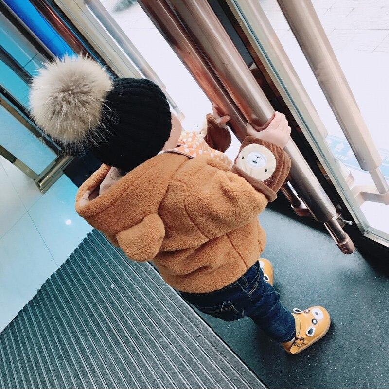 2018 neue stil Mode Winter frühling hüte Für Kinder Hut Skullies Beanies 15 cm bommel pelz Hut Für Mädchen Kappe motorhaube enfant