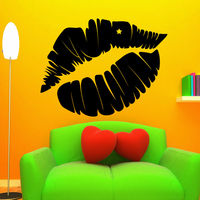 Wall Decal Beauty Salon Lips Kisses Lipstick Art Decals Home Decor Sticker
