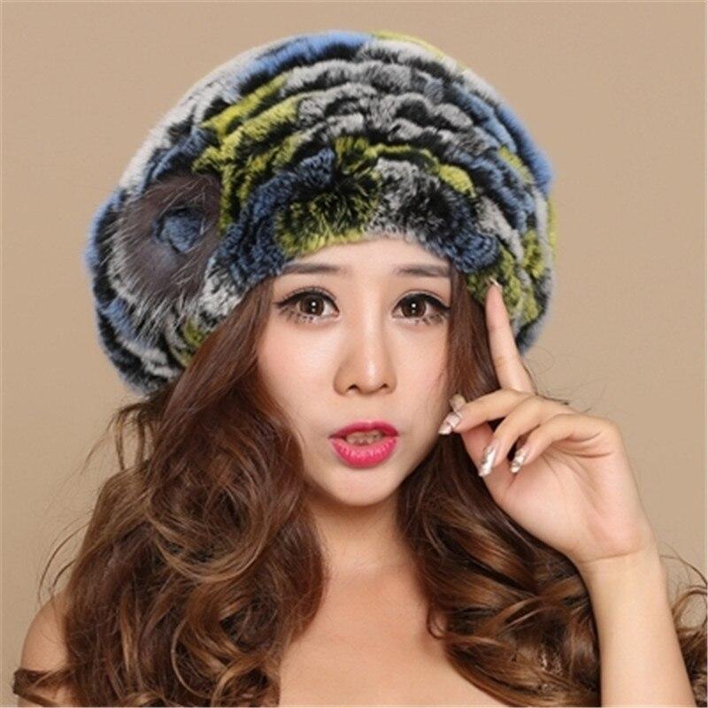 Rex arnab beret wanita musim sejuk kulit cape kelinci topi bulu topi - Aksesori pakaian - Foto 2