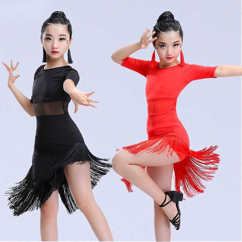 Новое Детское платье для латинских танцев для девочек Одежда для латинских танцев с бахромой костюм для сальсы черные красные Бальные платья для танго, распродажа
