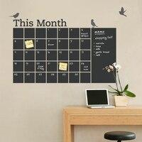 Free Shipping DIY Vinyl Chalkboard Wall Calendar 6 Cute Birds Blackboard Wall Stickers Wallpaper Poster Art