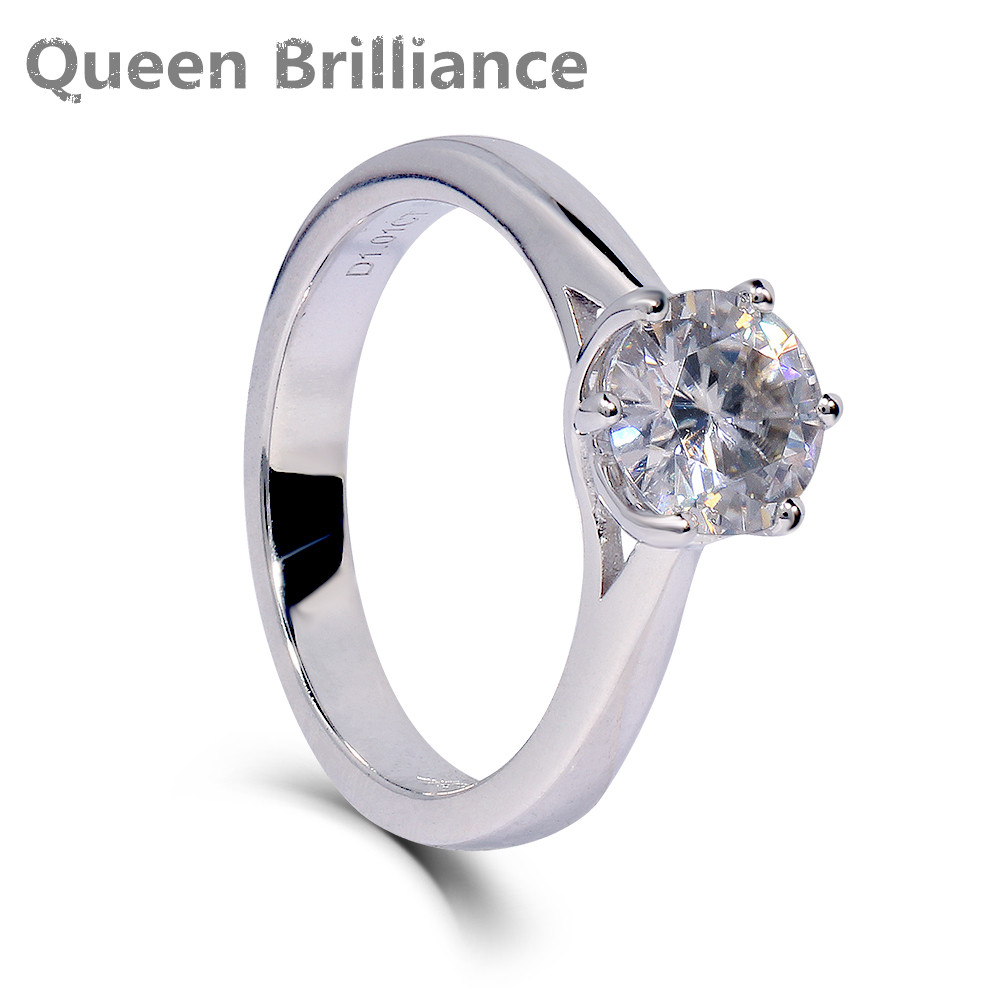 Platinum Plated Sterling Silver 1 carat HI Color Excellent Cut Lab Grown Moissanite Diamond Engagement Wedding Ring for Women transgems 1 3ctw princess cut lab grown moissanite diamond engagement wedding ring platinum plated 925 sterling silver