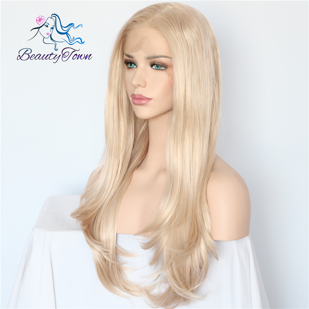 Image 3 - BeautyTown Blonde Beige Natural Wave Heat Resistant Hair White Women Daily Makeup Wedding Party Gift Synthetic Lace Front Wigs-in Synthetic Lace Wigs from Hair Extensions & Wigs