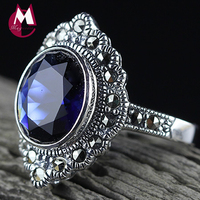2019 Fashion Natural stone Blue Corundum Ring 100% Real Pure 925 sterling silver 925 Jewelry Women Ring wholesale lots bulk R23