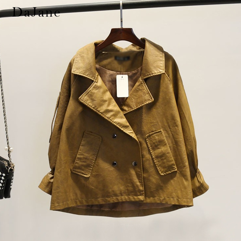 Loose Version Casual double-breasted Lapel Jacket Personality Handsome Locomotive nine-point Sleeve Female   Leather   Clothing