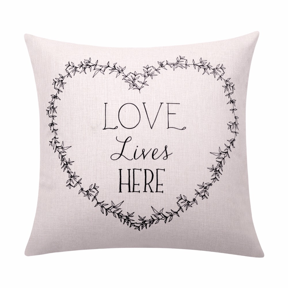 Valentines Day Cushion Cover Love Quote Throw Pillow Cover Letter Pillow with Words Decorative Pillow Cases Sofa Home Decor Gift