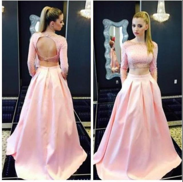 2017 Two Pieces Pink Prom Dresses Long Sleeves Beaded Pearls Top ...