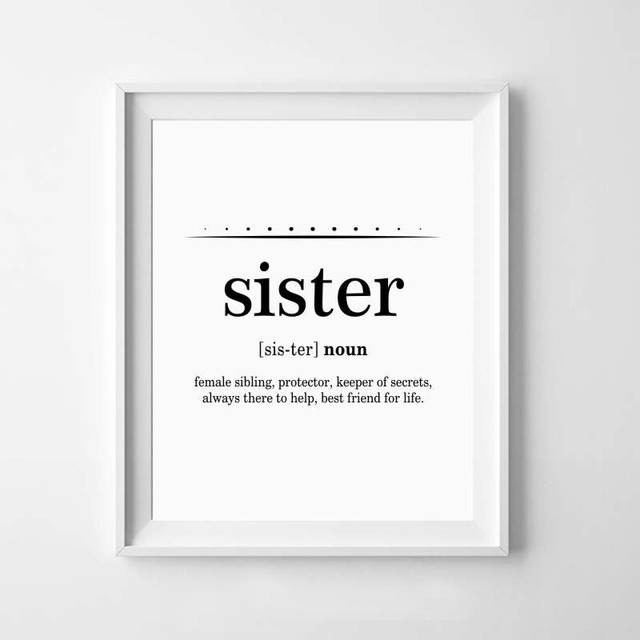 US $2.66 20% OFF|Sister Art Gift Canvas Print And Poster , Big Sister Quote  Typography Canvas Painting Girls Room Wall Art Decoration-in Painting & ...