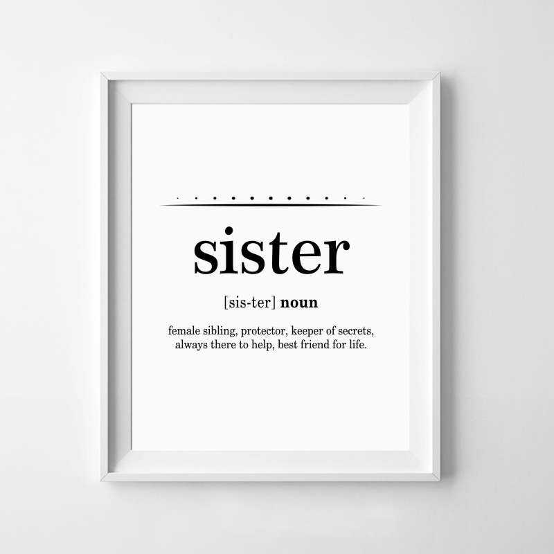 Sister Art Gift Canvas Print And Poster , Big Sister Quote Typography  Canvas Painting Girls Room Wall Art Decoration