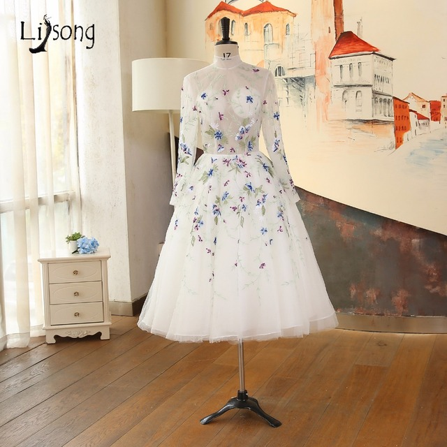 2018 Embroidery Tea Length Evening Dresses Long Sleeves High End ...