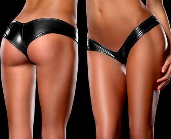 fantasia sexy effetto bagnato lucido stile di lattice mutandine underwear misura stretta perizoma vita bassa nero