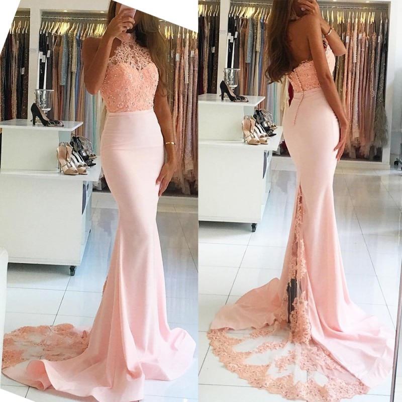 Halter Mermaid Off-the-Shoulder Blush Pearl Pink Evening Dresses 2018 Lace Appliques Long Prom Dresses Vestido De Noiva