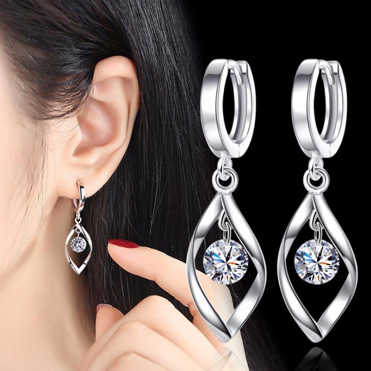 Fashion 925 Silver Luxury Crystal Stud Earrings New Style Earring For Women Girl Ear Jewelry Gift 3Y437(China)
