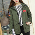 2016 autumn army green patchwork embroidery baseball trench coat women plus size couple cardigan hooded windbreaker