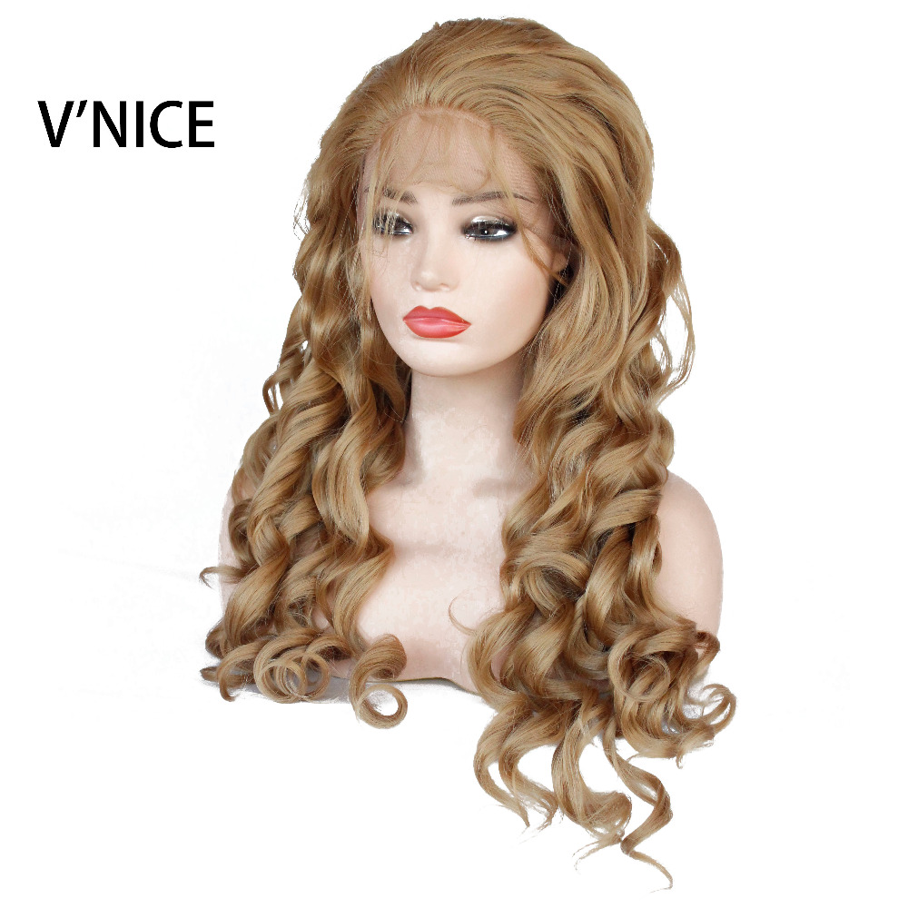 V NICE Golden Blonde Synthetic Lace Front Wigs with Baby Hair 27 Honey Blonde Loose Wave
