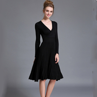 Women S Clothing New 2017 Autumn Winters Long Sleeved Crossover V Neck Lace Knitting Pleated In