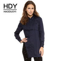 HDY Haoduoyi Brand 2017 Dark Blue Women Casual Shirts Layer Long Sleeve Patchwork Female Vintage Blouses