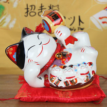 цены Big Size 8 Inch Chinese Style Lucky Cat Piggy Box Ornament Modern Home Decoration Lucky Cat Coin Saving Box Creative Money Bank