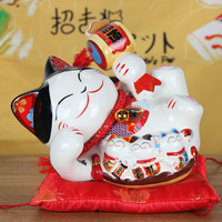 Big Size 8 Inch Chinese Style Lucky Cat Piggy Box Ornament Modern Home Decoration Lucky Cat Coin Saving Box Creative Money Bank