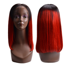 Lace Front Human Hair Wigs Remy 1B Red Short Bob For Black Women 150% Density