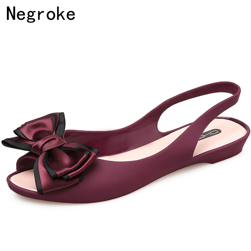Bowknot Jelly Shoes Women Flat Sandals Open Toe Soft PVC Summer Fashion Slingback Ladies Boat Shoes Woman Beach Sandalias Mujer