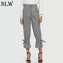 e1a1a85783bf3 NLW proste kratę przycisk jesień zima długi garnitur spodnie kobiety  zasznurować na co dzień Feminino spodnie wysoka talia Zippe.
