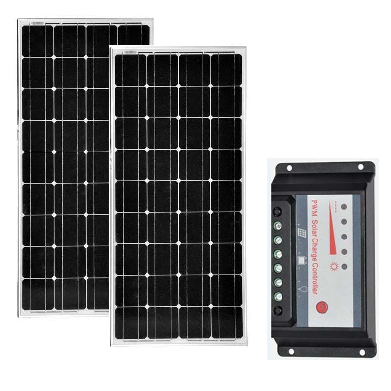 Kit Painel Solar 200 w 12 v Placa Solar Controlador de Carga Solar 100 W 18 V Batterie Solaire 12 V /24 V 20A Autocaravanas Caravana