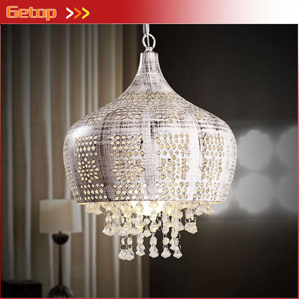 American Village Pastoral k9 Crystal Pendant Light Retro Mediterranean Lamp Bedroom Living Room Restaurant Iron Carved Lights a1 master bedroom living room lamp crystal pendant lights dining room lamp european style dual use fashion pendant lamps