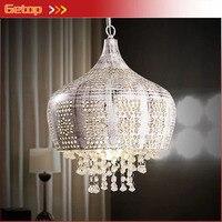 American Village Pastoral K9 Crystal Pendant Light Retro Mediterranean Lamp Bedroom Living Room Restaurant Iron Carved