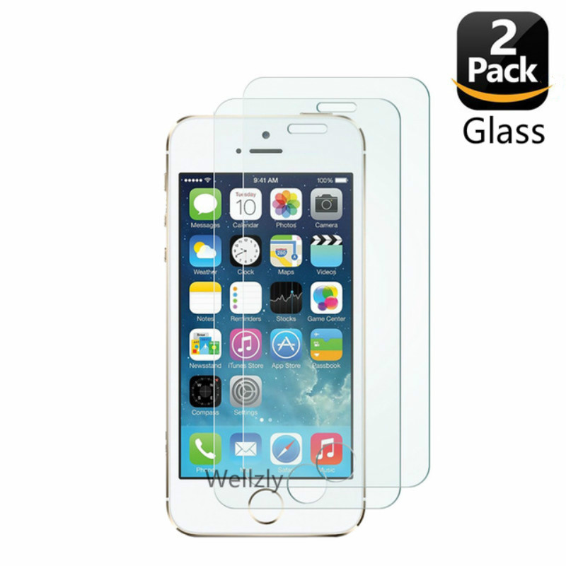 Screen-Protector Tempered-Glass Glass-On 2-Pack iPhone 5se for 8x10 7 4 6