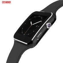 Bluetooth X6 akıllı saat erkekler kamera dokunmatik ekran bilek Smartch izle Android IOS telefon için spor Smartwatch kadınlar Sim kart