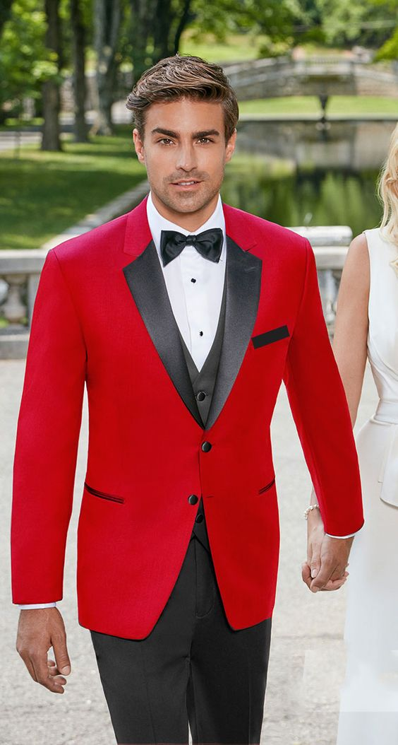 Men's red tuxedo with black satin notch lapel Mens Slim Fit Suits Groom Tuxedos Groomsmen Mens Wedding Suits(Jacket+Pants+Tie)