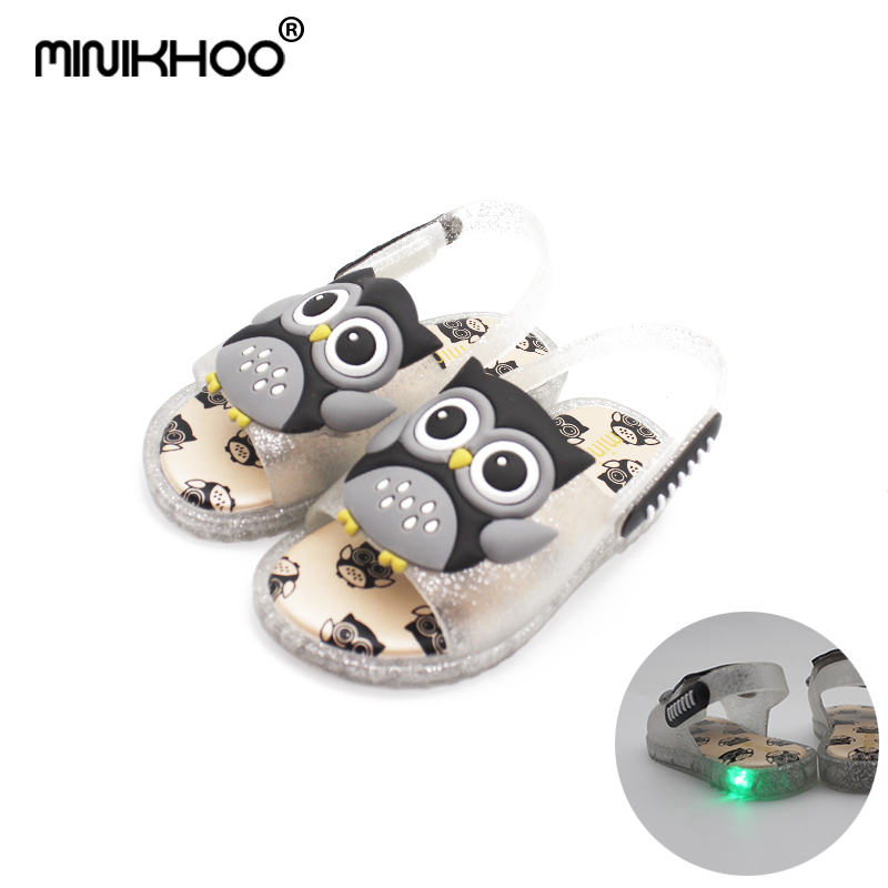 Mini Melissa 4 Color Owl Flash Lamp Girls Jelly Sandals 2018 New Children LED Shoes Baby Beach Sandals Melissa Jelly Sandals