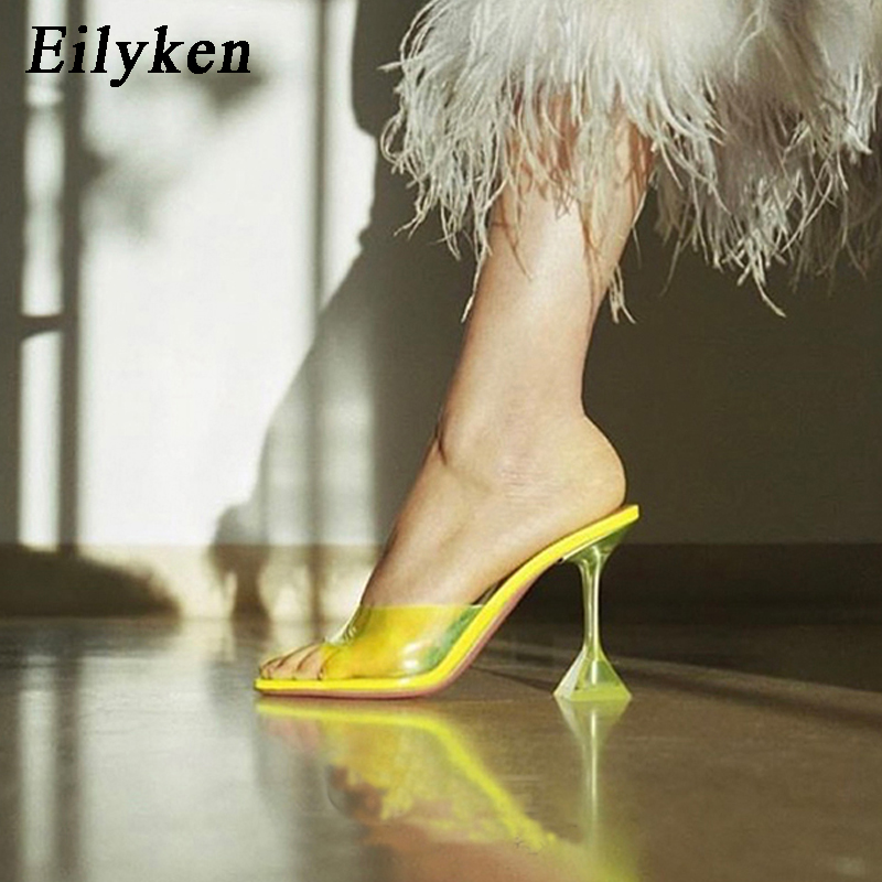 Eilyken Open Toe Silver Green PVC Transparent Thick Block High Heels Woman Jelly Sandals Women Slides Slippers Mules Shoes