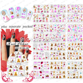 HOTSALE 50sheet/LOT Barbie & teddy Bear design color series nails art stickers nail tools +Separate Packed