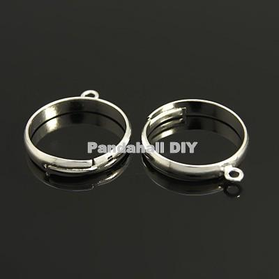 Brass Loop Ring Bases, Adjustable, Lead Free and Cadmium Free, Ring Components, Silver Color, Size: about 18mm in diameter,