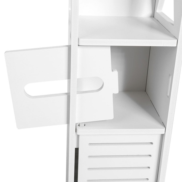 Bathroom Storage Shelf Toilet Furniture Bath Cabinet White Wood Cupboard Shelf Tissue Cloth Storage Rack Bathroom Locker