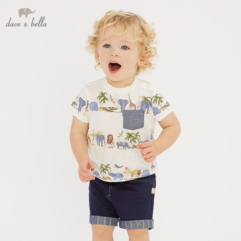 DB10465 dave bella summer baby boys fashion clothing sets handsome short sleeve suits children animal clothes
