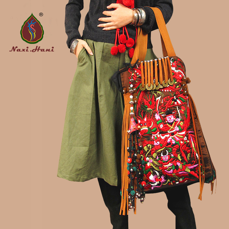 HOT Hmong canvas embroidered womens handbag Vintage handmade beaded Shoulder bags Fashion Casual big size tassel travel bags original ethnic embroidered women handbag vintage handmade tassel shoulder bags black canvas casual large bags
