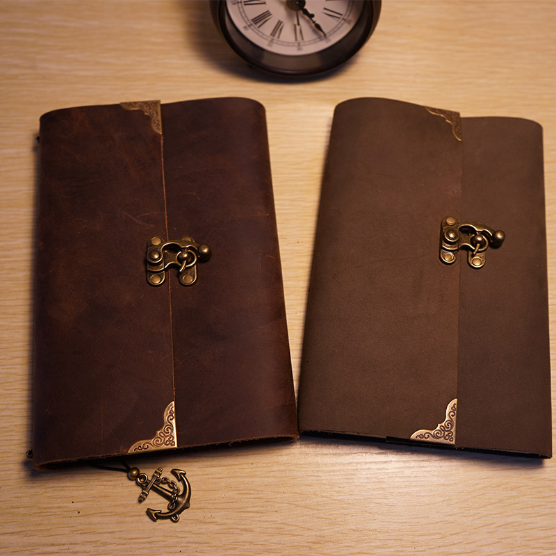 Handmade genuine leather notebook  vintage lock black color diary spiral losse leaf kraft paper school supplies journal notebook black elbow design 6mm pu tube to 1 8 pt male thread pneumatic quick fittings joint connector 5 pcs
