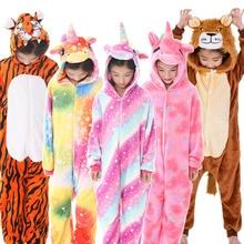 Kids Pajamas For Boys Girls Animal Tiger Pegasus Unicorn Cosplay Children Hooded Flannel Sleepwear Cartoon Pyjamas Onesie Winter