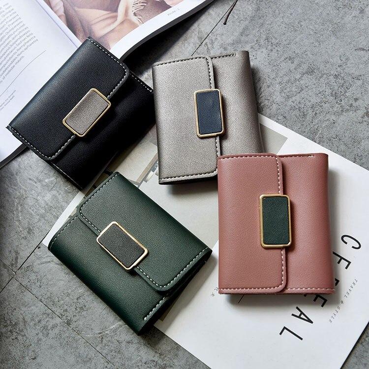 Wallet short small fresh three fold super thin crash color wallet 2018 new Korean Mini Wallet.