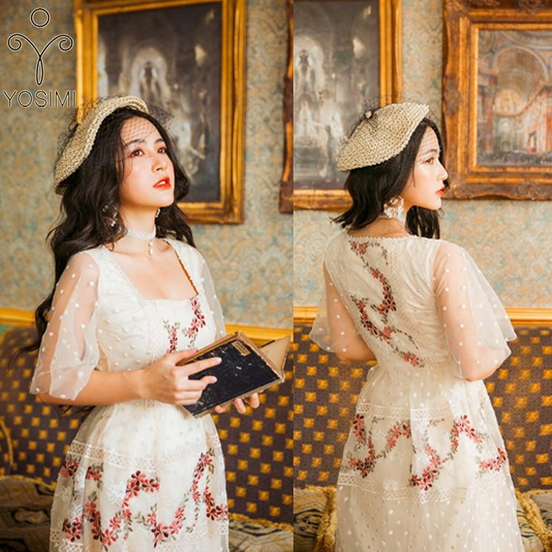 YOSIMI Vrouwen Jurk 2019 Zomer Maxi Elegante Beige Mesh Bloemen Borduren Lange Vrouwen Fee Korte Mouw Avond Party Dress-in Jurken van Dames Kleding op  Groep 3