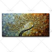 צבוע מודרני מופשט ציור שמן עץ כסף זהב גודל גדול דקורטיבי בד אמנות אומנות וול תמונה לסלון