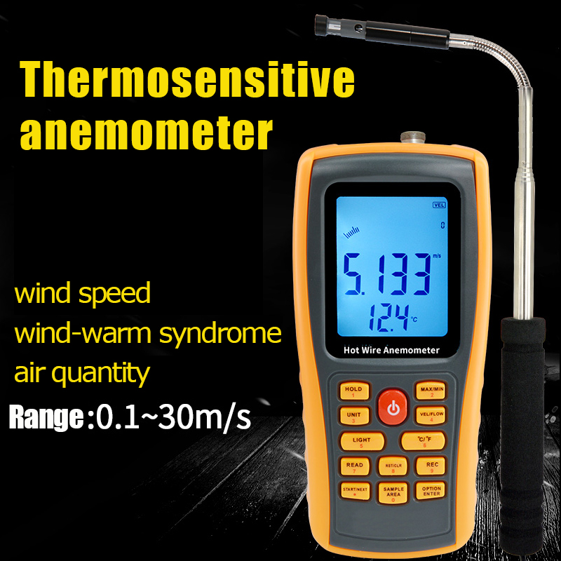 GM8903 Hot Wire Digital Anemometer 0~30ms Air Temperature Meter 0~45C Wind Speed Flow Tester with USB