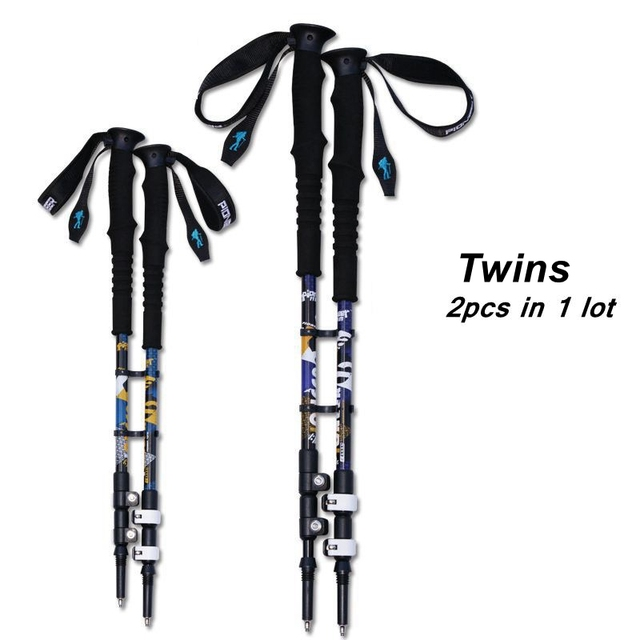 2pcs/lot 240g/pcs Trek Pole Nordic Walking Poles Telescopic Alpenstock Aluminum Alloy Shooting Walking Stick Crutch Senderismo