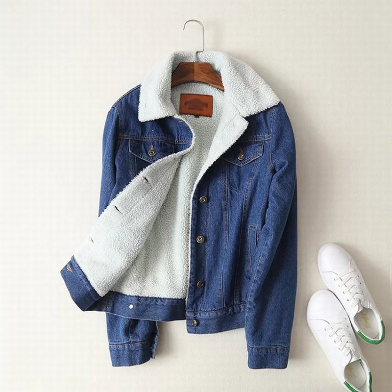 Autumn Winter Large size Denim   Basic     Jacket   Lambswool   Jacket   Women Long Sleeve jean   Jacket   Casual Single Breasted denim Coat 5XL