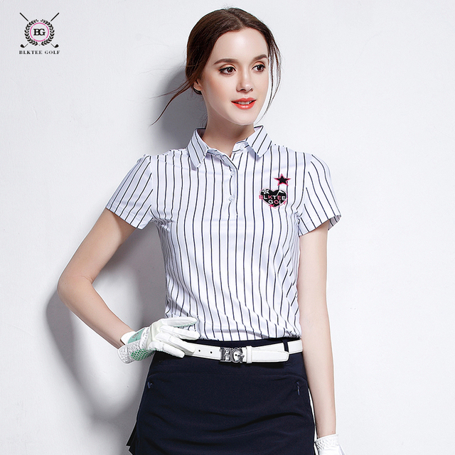 859d722857 Women golf polo shirt lady striped short-sleeve T shirt sports fabric quick  dry british