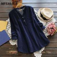 Mferlier Mori Girl Spring Autumn Solid Long Shirt Stand Collar Long Sleeve Stylish Blue White Pink