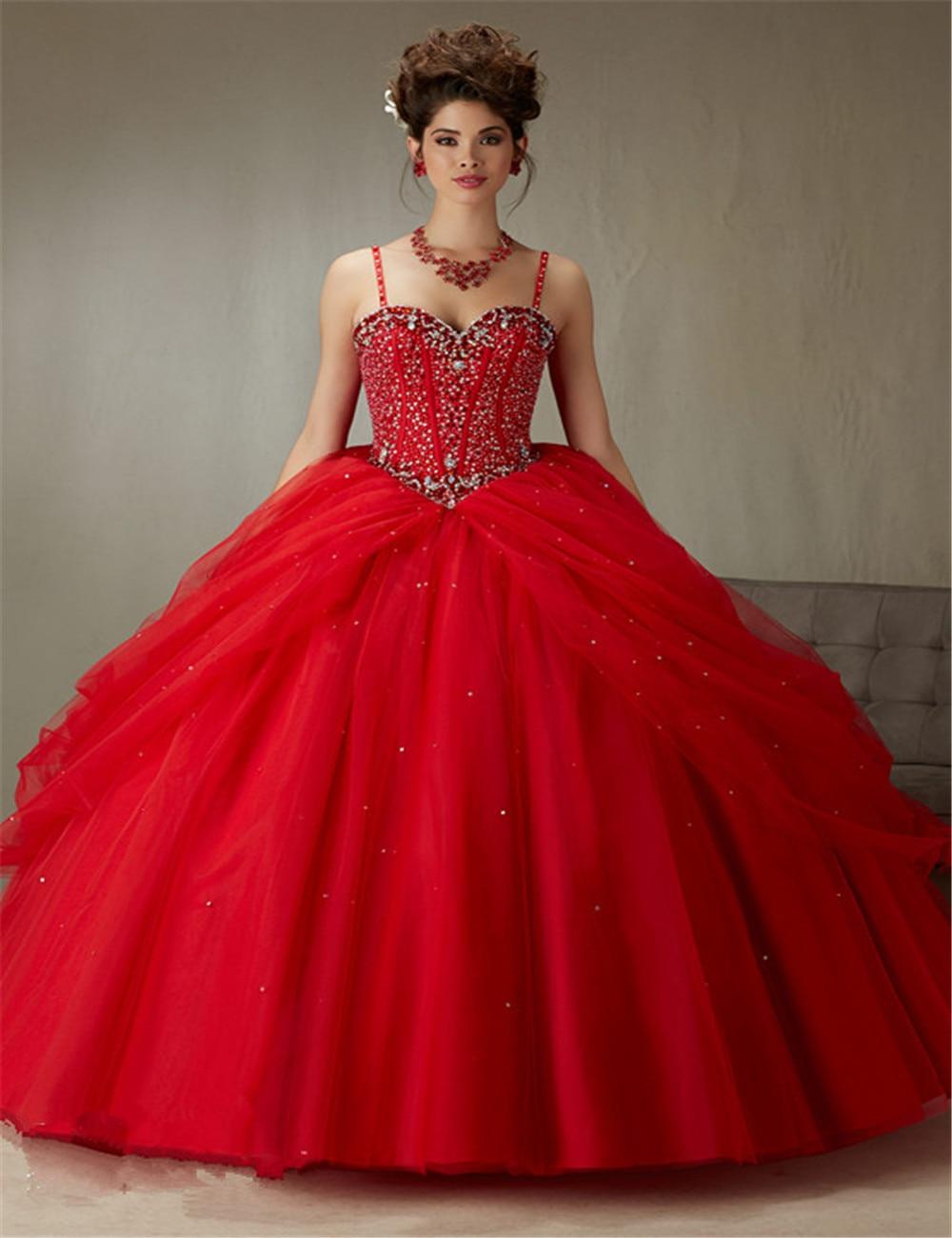 2016 El Último Diseño del vestido de Bola Vestido de Quinceañera Vestido Rojo Con Correa JSpaghetti